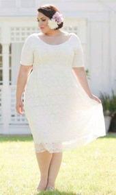 Vestido Boda Civil De Encaje Elegante Tallas Grandes