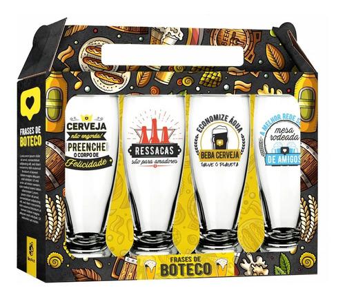 Conjunto 4 Copos Cerveja Boteco Chopp Tulipa 300ml Munich