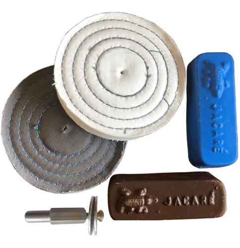 Kit De Polir Pequenos Riscos Roda Pasta Adaptador Furadeira