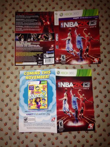 Nba 2k13 Somente O Encarte E Manual Xbox 360 Ler Tudo $24,98