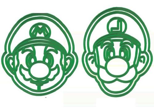 Imagen 1 de 4 de Set Combo Cortantes Galletitas Mario Y Luigi X2 Unidades