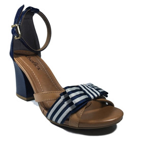 Sandália Usaflex Laço Azul Marinho Verniz Com Bege