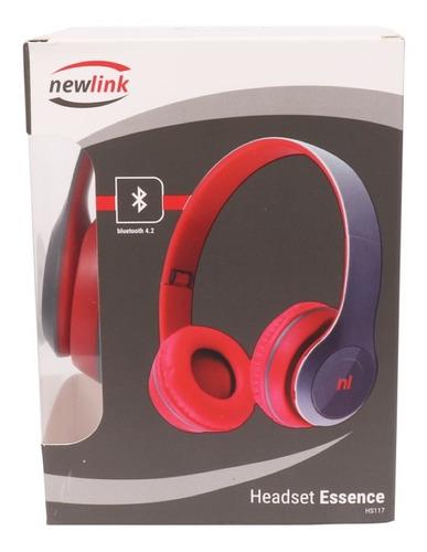 Fone De Ouvido Bluetooth Fm Micro Sd Newlink  Hs117 Vermelho