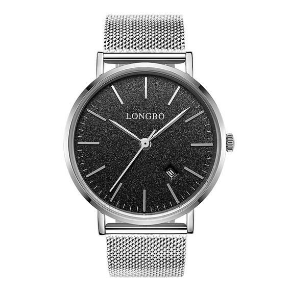 Reloj Pulsera Longbo Moderno Plateado Negro Para Hombre