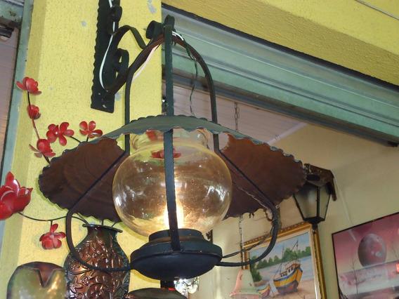 Lustre Sombreiro Mexicano De Ferro Com Mão Francesa Antigo