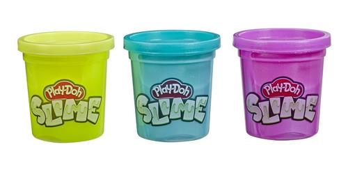 Imagen 1 de 4 de Play-doh Slime 3 Pack Amarillo, Morado Y Aqua