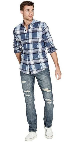 Camisa G Factory Ls Benjamin 1 Pkt Plaid Nagt Azul
