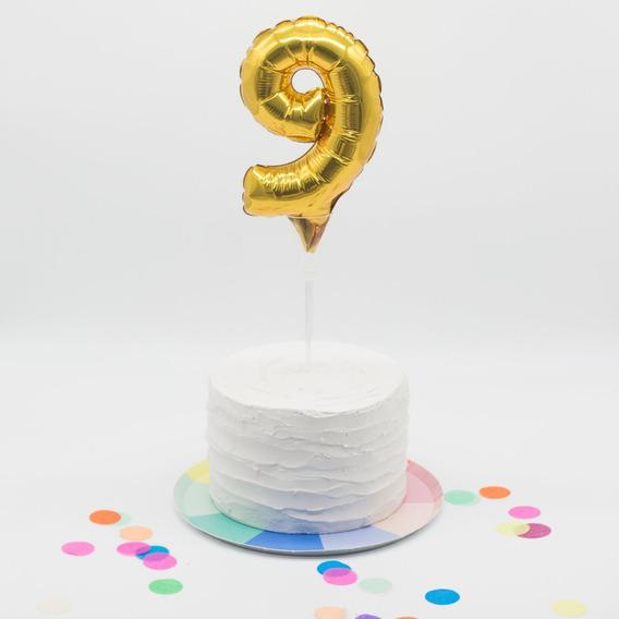 Globo Mini Numero Para Torta 7 Pulgadas Dorado Zona Oeste