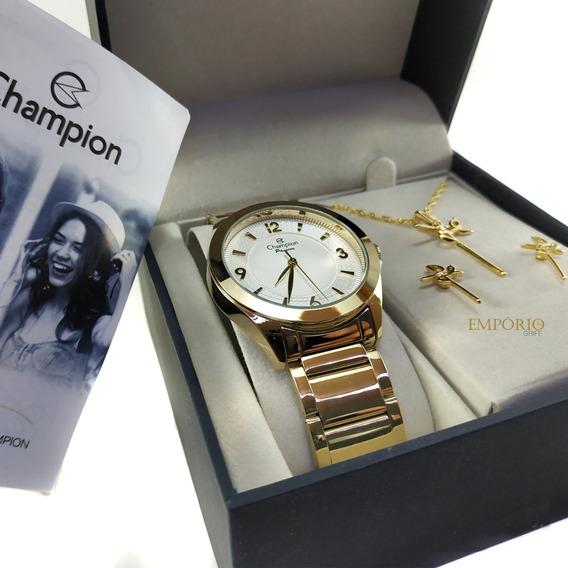 Relógio Champion Feminino Cn28866b + Brinde Brincos / Colar