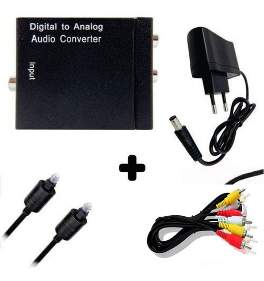 Conversor Óptico Audio Digital X Analógico Tv + Cabo 3 Rca M