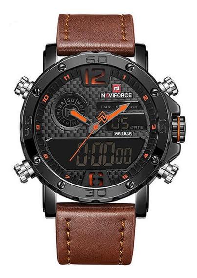 Relógio Esportivo Naviforce Nf9134 Marrom C/estojo