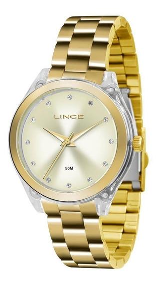 Relógio Feminino Lince Lrg4431p C1kx Acrílico Dourado