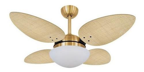 Ventilador Volare Dourado Vr42 Petalo Palmae Natural 127v 60