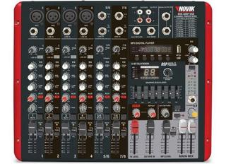 Consola Mezcladora Potenciada Usb Novik Nvk800p 8 Canales Bt