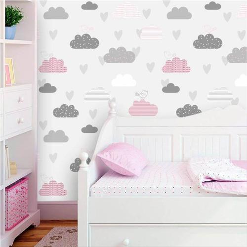 Imagem 1 de 2 de Papel De Parede Nuvens Cinza E Rosa Com Passarinhos