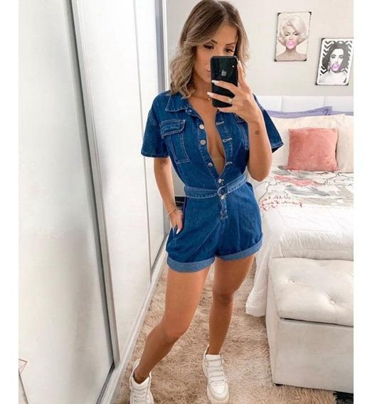 Macaquinho Jeans Feminino Com Bolso Lateral E Cinto