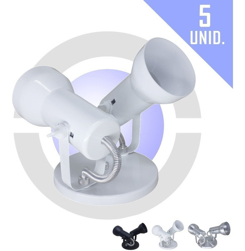 Imagem 1 de 8 de Spot De Luz Duplo Sobrepor 2 Lampadas Par20 Bulbo Kit 5 Unid