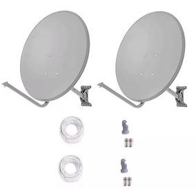 2 Antenas Ku 60cm+lnb Duplo + Cabo Rg59 +conector