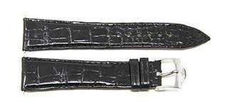 Corum 20 Mm De Cocodrilo Color Negro Piel Correa De Reloj De