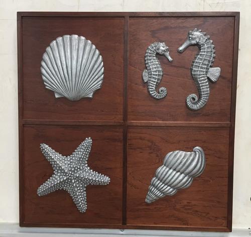 Imagen 1 de 3 de Cuadro Decorativo Vida Marina En Relieve