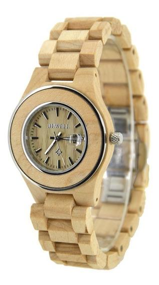 Relógio Madeira Bewell Original Bege Claro Feminino