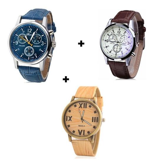 Kit 3 Relógios Masculinos Cores Diferentes Para Combinar Top
