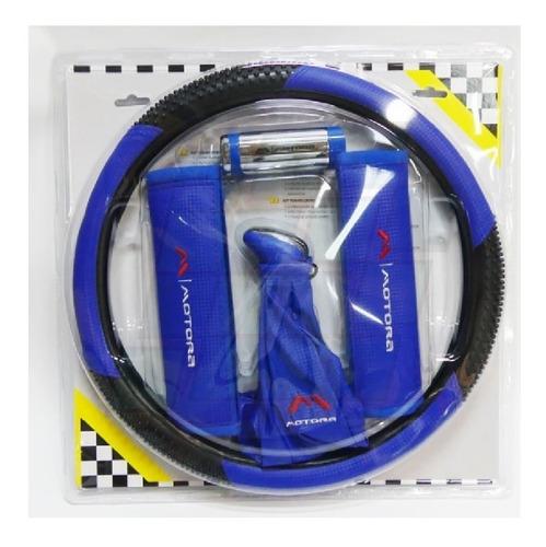 Kit Deportivo Cubrevolante Bocha Cubre Cinturon Cufia Azul