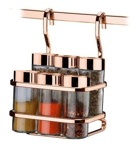 Porta Temperos Condimentos 6 Galhetas Para Barra Rosé Gold