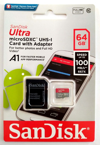Sandisk Ultra 64gb Micro Sd + Sd Adp Clase 10 - 100mb/s U1