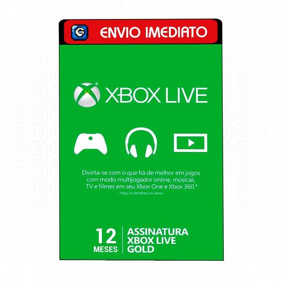 Cartão Xbox Live Gold Brasil Cartão 12 Meses Envio Imediato
