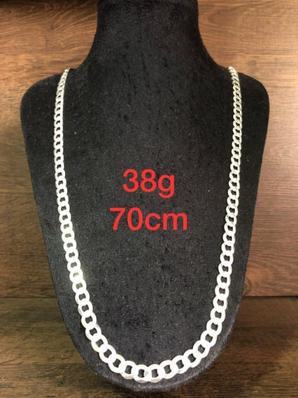 Colar De Prata Italiana 925 Modelo Groumet 38g 70cm