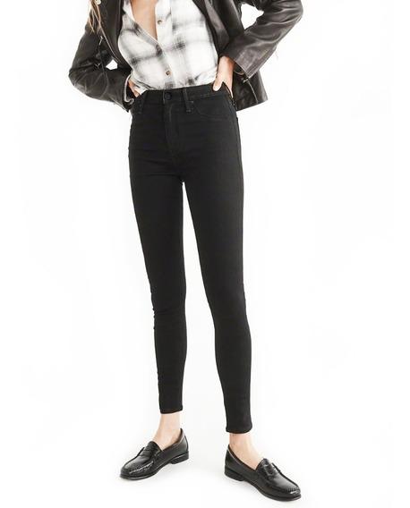 Jean Lacoste Mujer Casual Elastizado Chupin Negro