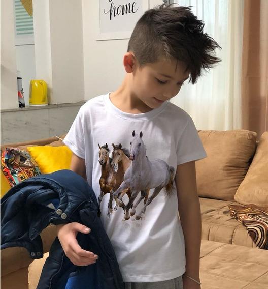 Camiseta Masculina Estampa Infantil Três Cavalos Country