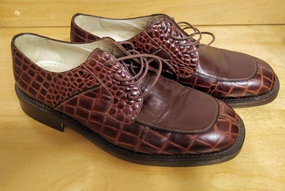 Sapato Social Masculino Marrom Croco Di Pollini