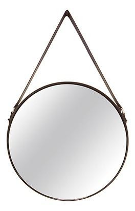 Espelho Decorativo Preto Metal Redondo 45cm C/ Alça In7292