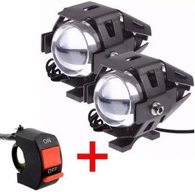 Par Farol Milha Led U5 Auxiliar Lampada Moto 12v~24v Xenon