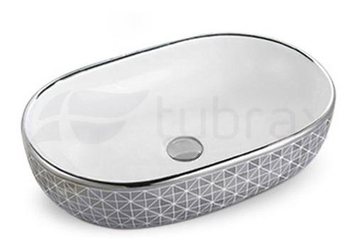 Cuba Oval Banheiro Lavabo Cerâmica Sobrepor Prata