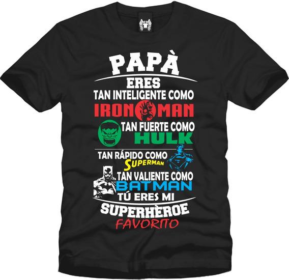 Playera Día Del Padre- Papá Superhéroe Manga Corta