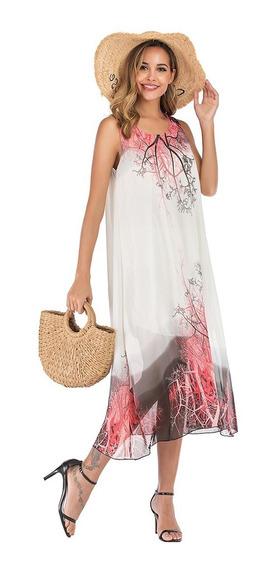 Vestido De Playa Verano Con Cuello O Boho Estampado Floral