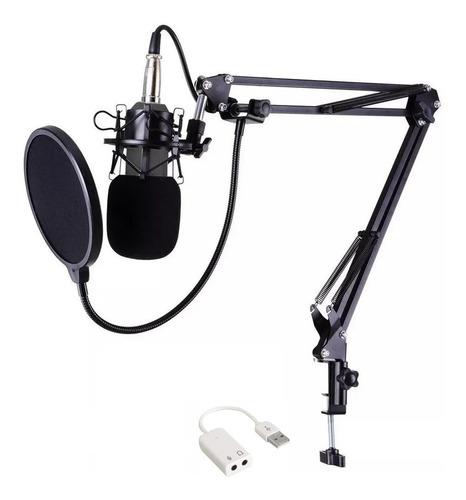 Microfone Condensador Bm800 + Aranha Metal + Braço + Pop F