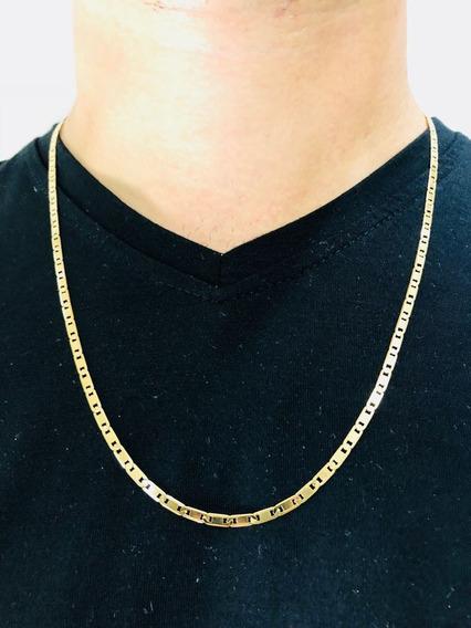 Corrente Cordão Piastrine 60cm Masculino Ouro 18k Grosso