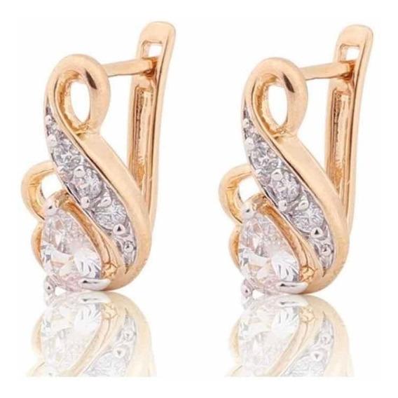 Aretes Chapa Oro Con Cristales Tipo Swarovsk