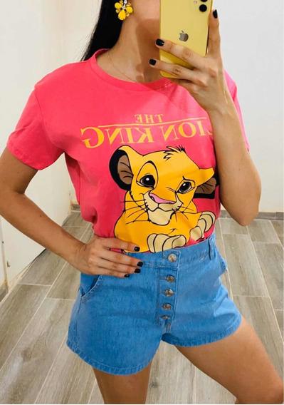 Remera Rey León Dama Camiseta Moda Mujer Top Zimba Verano
