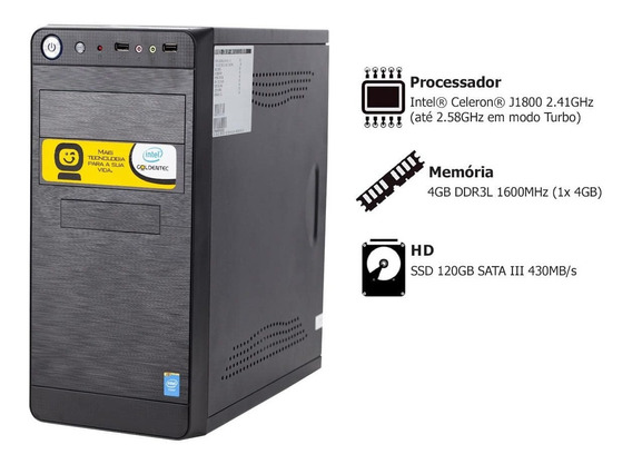Pc Goldentec A-gcl Intel Celeron J1800 2.41ghz 4gb Ssd 120gb