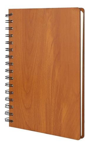Imagen 1 de 9 de Libreta Con Pasta De Madera, Espiral Metálico Y 80 Hojas.