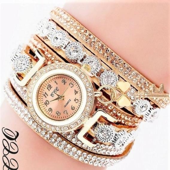 Relógio Watch Feminino Ccq Com Bracelete Pulseira Pingente Luxo