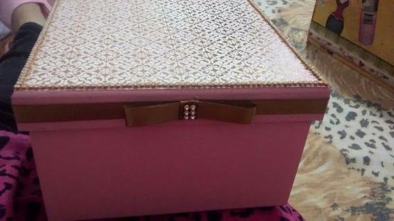 Porta Joias De Mdf Rosa/dourado 16,5x16,5x10,0