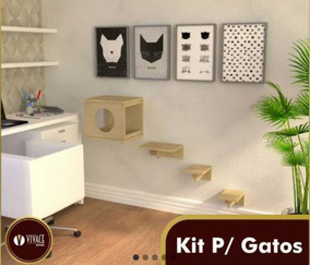 Kit Para Gatos, 1 Nicho, 1 Prateleira, 1 Escada 3dg, 2 Step