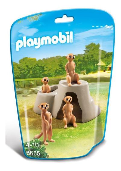 Saquinho Playmobil Animais Zoo - Família De Suricate - 6655