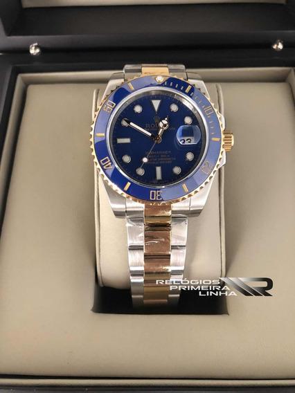 Submariner Azul Misto Dourado Prata